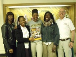 Isimeme Edeko pictured with (from left to right) Walther Track Coach Rachelle Richmond, her Aunt Monica Edeko, her mother Angelique Connor-Edeko, and St. Francis Track Coach Steve Lawrence