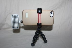 iPhone 5s on Joby Gorilla tripod with compact video light